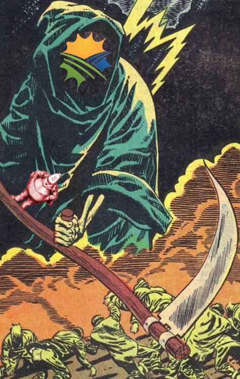 A comic-book drawing of a giant grim reaper bringing down a scythe on a crowd of writhing people; the reaper's empty black hood has been filled with the CHS logo. Perched insouciantly on the scythe is a miniature old-timey editorial cartoon of a 'fat-cat' business-man with a money-bag for a head.