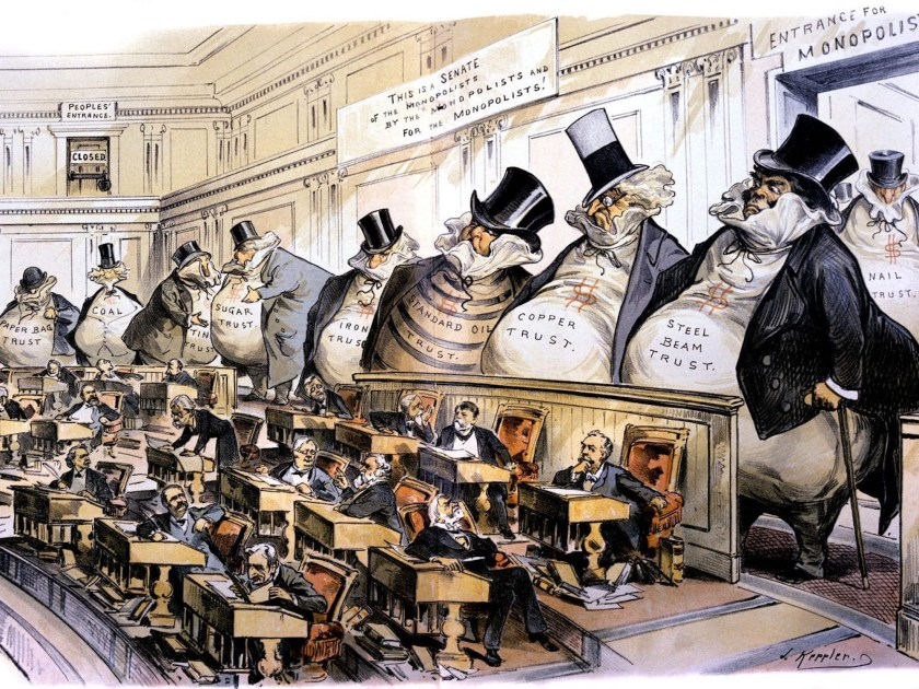 A Gilded Age antitrust cartoon depicting the Senate chamber, populated by tiny, weak Senators; the gallery is filled with giant 'fatcat' industry lobbyists, scowling at them.