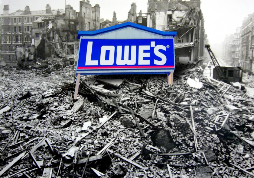 A bombed out cityscape surmounted by a Lowe's sign.
