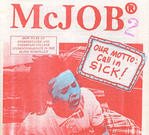 The cover of McJob zine #2, edited by Julee Peezlee, 1993/4.