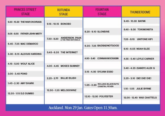 Laneway Festival Auckland 2018 final timetable