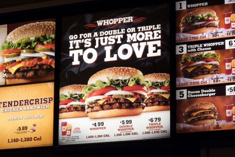 Calorie counts on fast food menus are now required