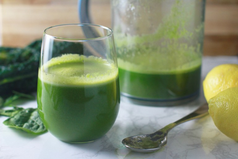 Celery, apple, spinach, kale, lemon and ginger juice