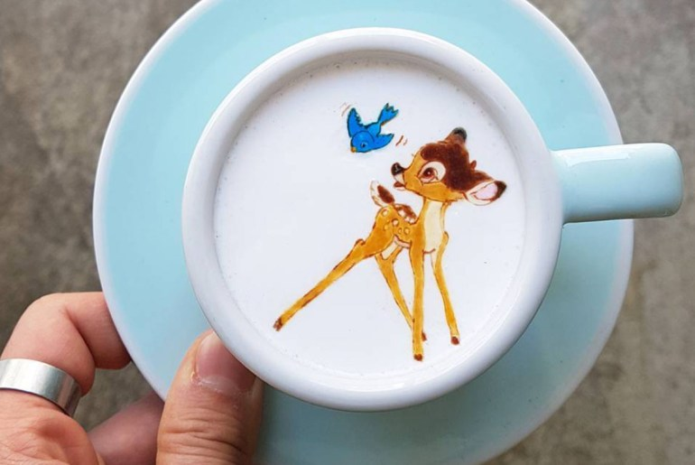Coffee art done Disney style