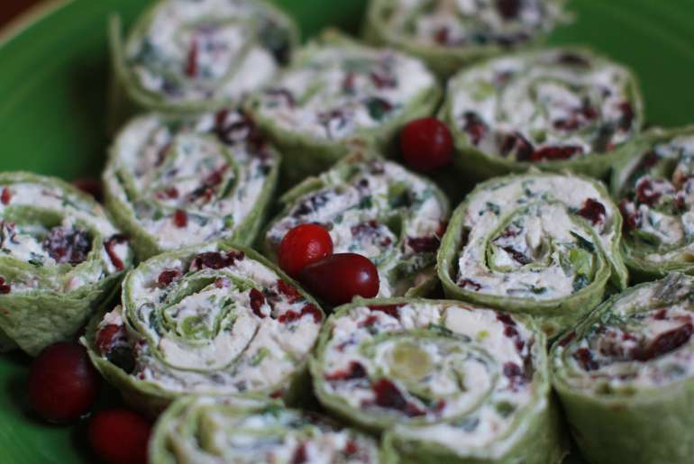 Cranberry, spinach pinwheels