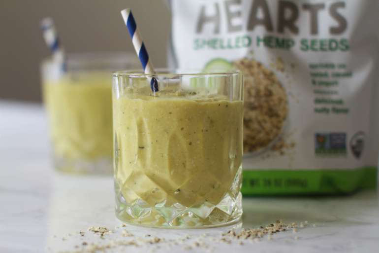 Creamy avocado, mango, hemp heart smoothie