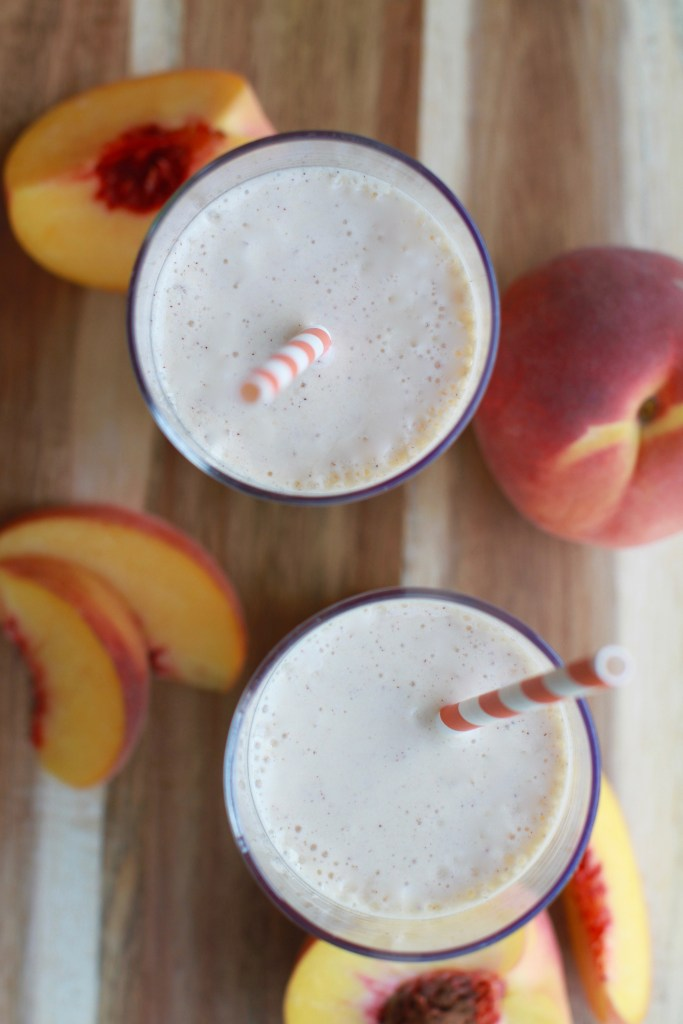 Easy peaches and cream protein smoothie