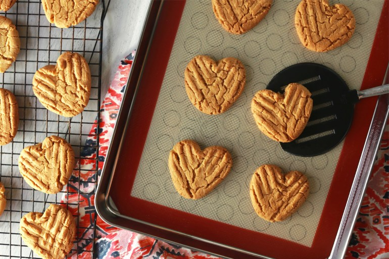 Heart-shaped peanut butter cookies