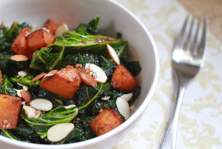 Kale, Butternut Squash salad with almonds