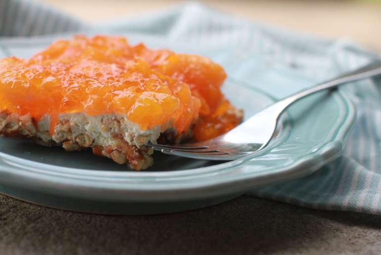 Mandarin orange Jell-O pretzel salad is refreshing and fun
