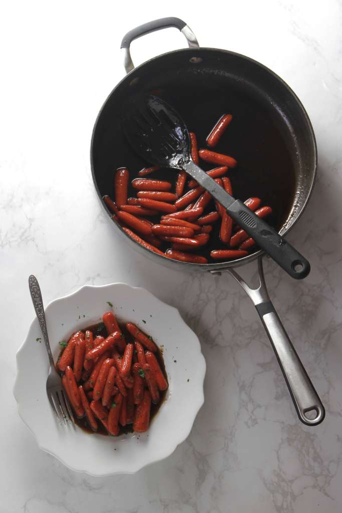 Sweet and spicy glazed bourbon carrots