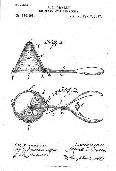 Cralle's patent for the ice cream scoop.