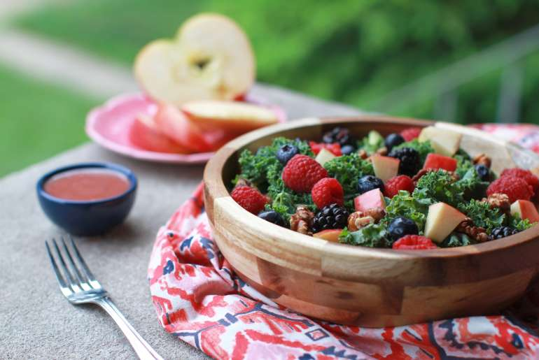 Triple berry kale walnut salad celebrates summer