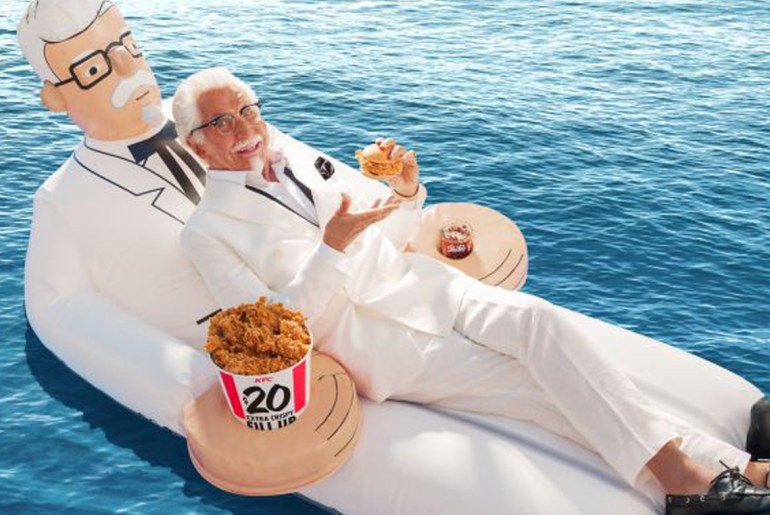 You can enter to win a KFC Colonel Sanders pool float