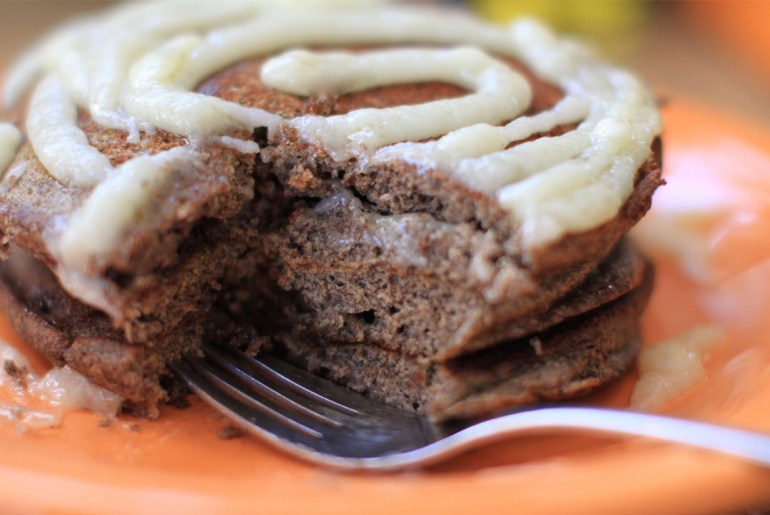 Celebrate with cinnamon swirl pancakes on national pancake day by Everybody Craves