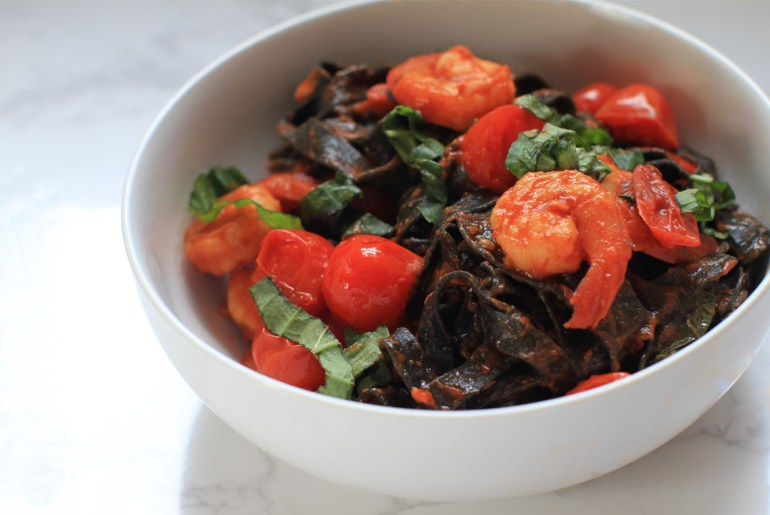 Squid Ink Fettuccini with Shrimp and Cherry Tomatoes Recipe by Everybody Craves