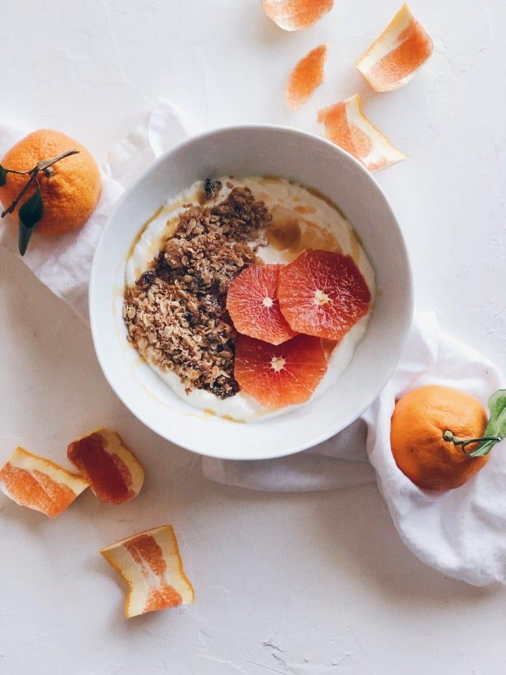 Coconut Almond Granola with Yogurt and Oranges
