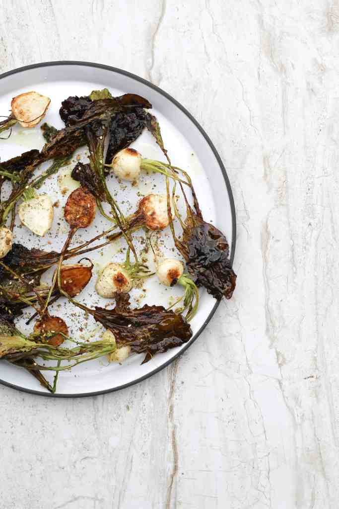ROASTED BABY TURNIPS WITH GARLIC AND ZA'ATAR