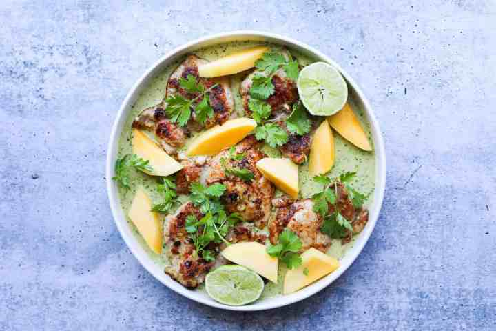 Green Curry Chicken Thighs with Fresh Mango