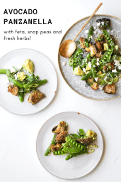 GREEN PANZANELLA WITH SNAP PEAS + AVOCADO