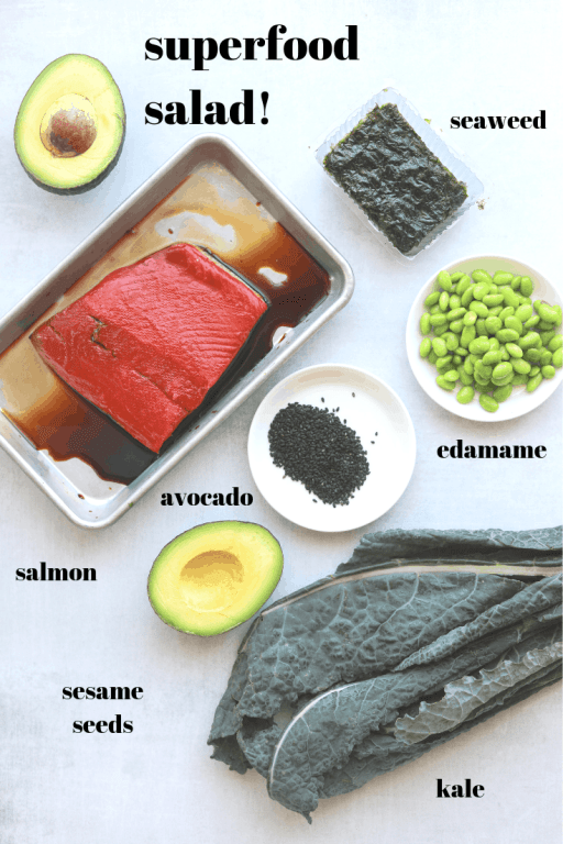 superfood salmon salad ingredients, salmon, avocado, kale, edamame, seaweed