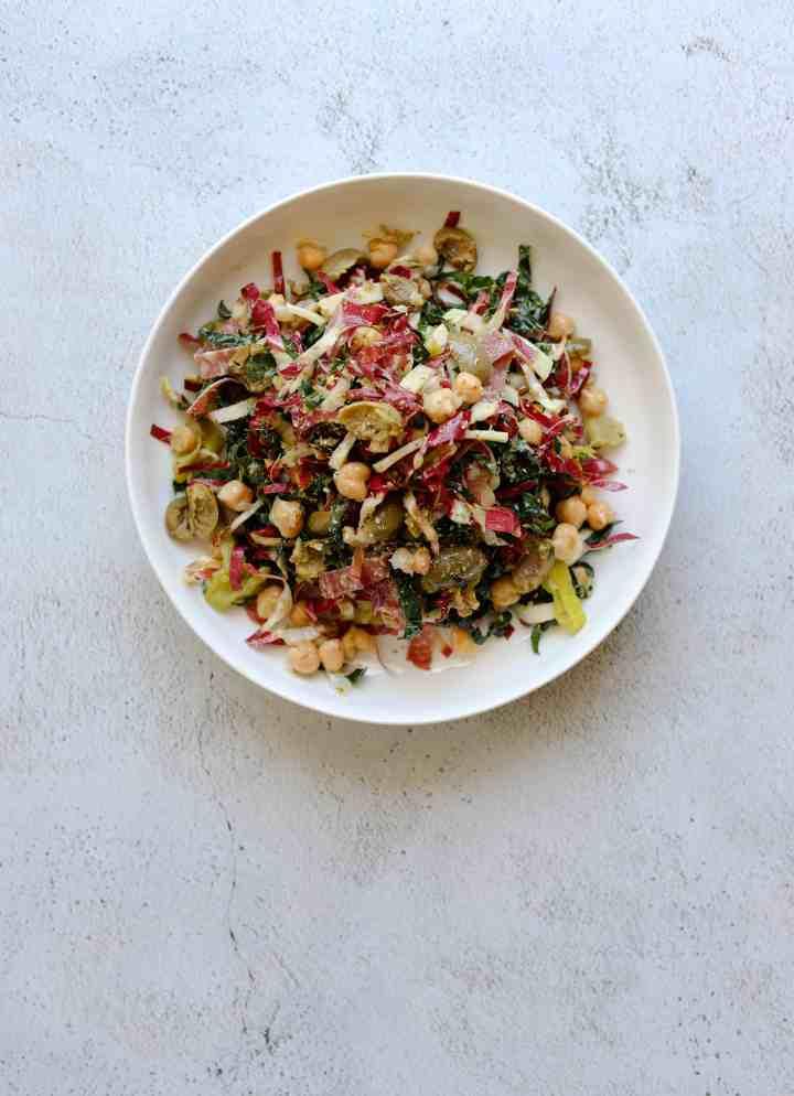 California Chopped Salad in a white bowl