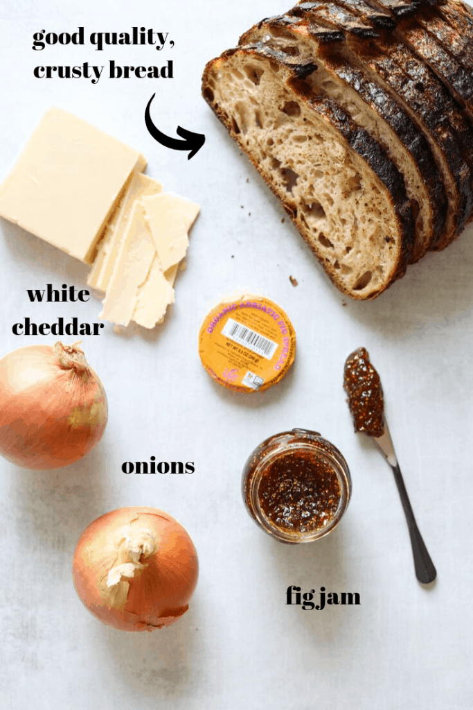 White Cheddar + Fig Grilled Cheese Ingredients