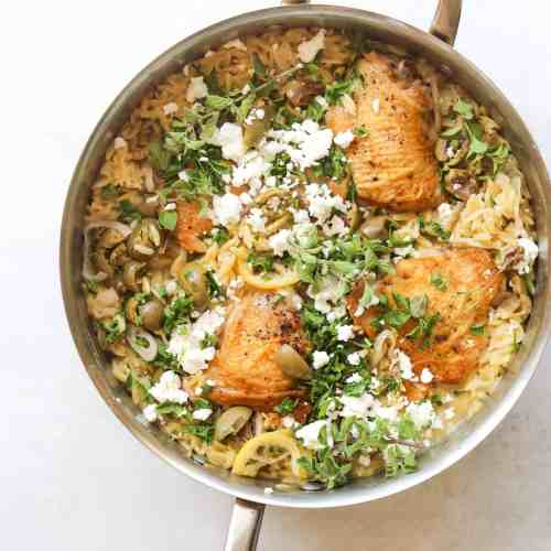 One-Pot Chicken with Orzo, Lemon, and Feta