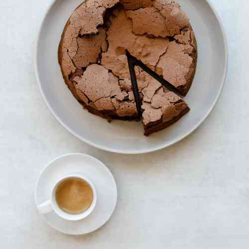 Flourless Chocolate Hazelnut Espresso Cake with a side of espresso