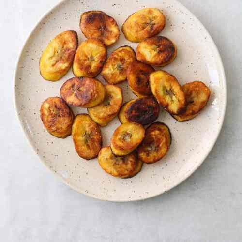 Fried Plantains on a white plate