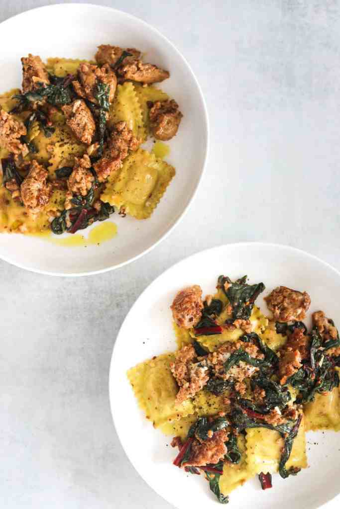 two white bowls filled with five-ingredient ravioli