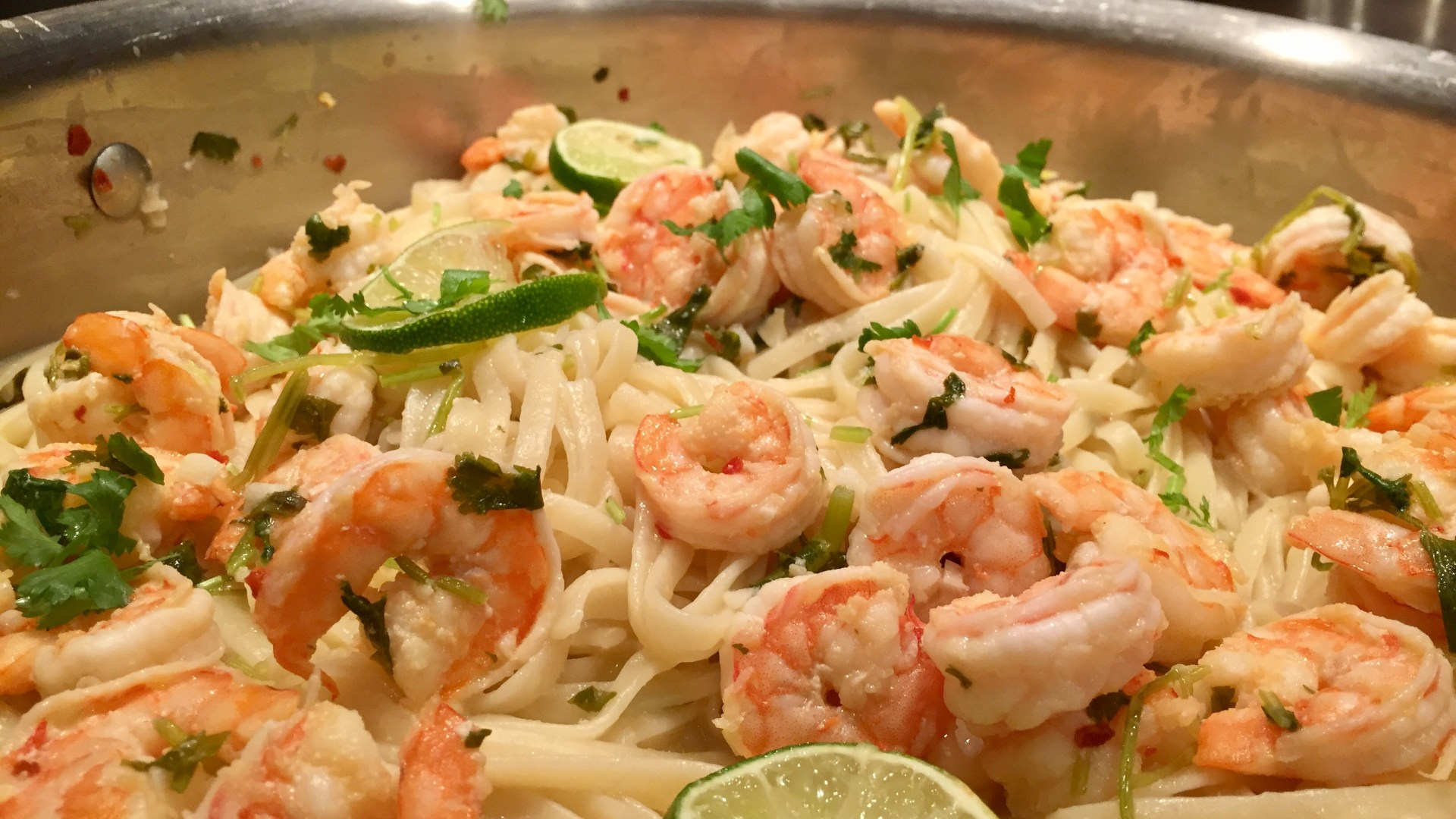 Cilantro Lime Shrimp Linguine