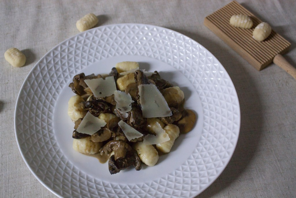 Potato gnocchi with dried mushrooms sauce