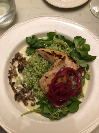 Chicken with chanterrelle sauce, barley, and spinach