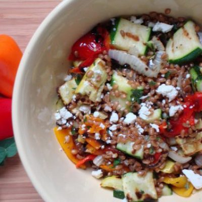 Grilled Vegetable Salad With Wheat Berries and A New American Plate Challenge Update
