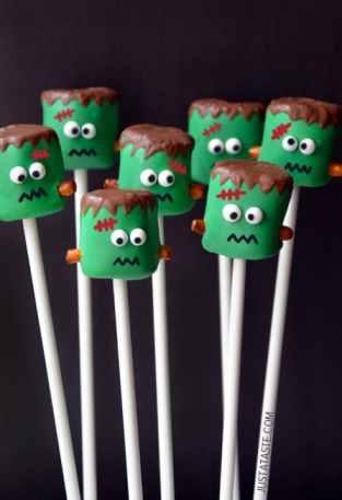 Frankenstein Marshmallow Pops|Just A Taste