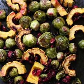 Roasted Brussels Sprouts, Delicata Squash and Cranberries With Balsamic Syrup|Craving Something Healthy