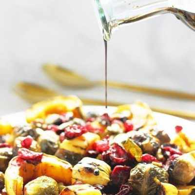 Roasted Brussels Sprouts Delicata Squash and Cranberries with Balsamic Syrup