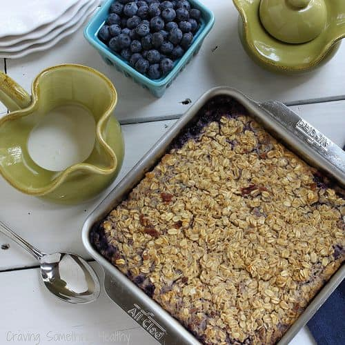 Wild Blueberry Cheesecake Baked Oats|Craving Something Healthy