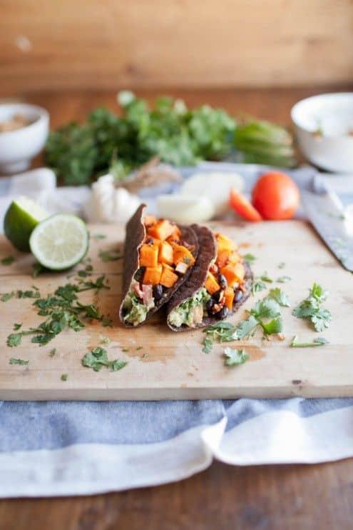 Chipotle Sweet Potato Black Bean and Guac Tacos|Naturally Ella