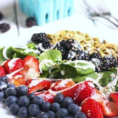 Very Berry Spinach Salad with Popped Quinoa & Citrus Yogurt Dressing