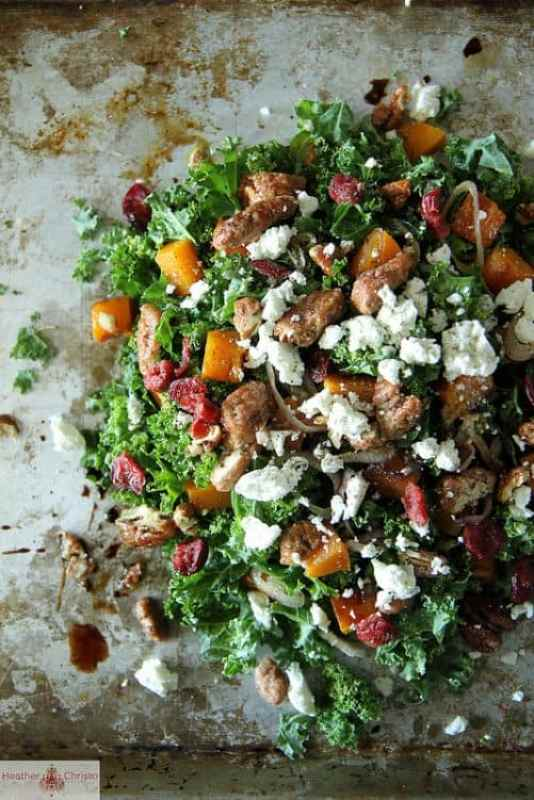 Kale Salad with Roasted Pumpkin Cranberries and Goat Cheese|Heather Christo