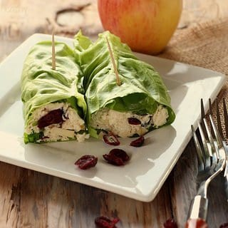 Cranberry Chicken Salad Lettuce Rollup Sandwiches