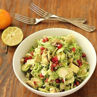 Brussels Sprouts Slaw with Pomegranate and Avocado