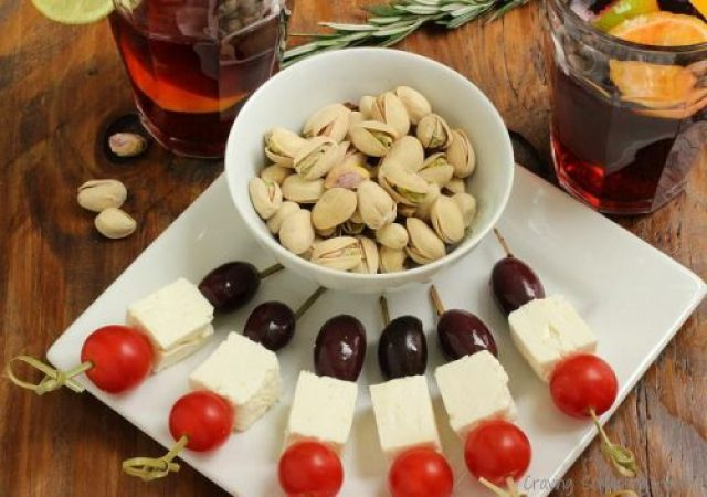 Pistachios with Olive Feta and Tomato Skewers