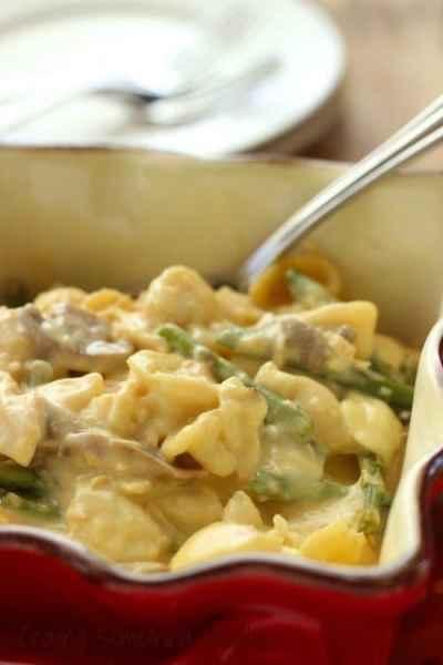 Slow Cooker Cheesy Chicken Asparagus Casserole