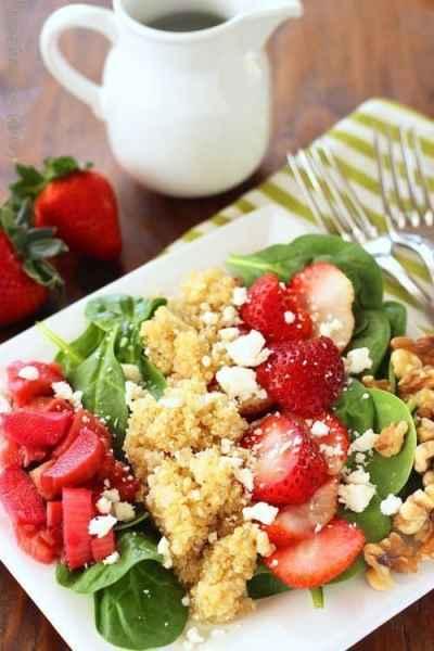 Strawberry Rhubarb Spinach Salad