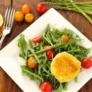 Tomato & Asparagus Salad with Fried Goat Cheese Rounds