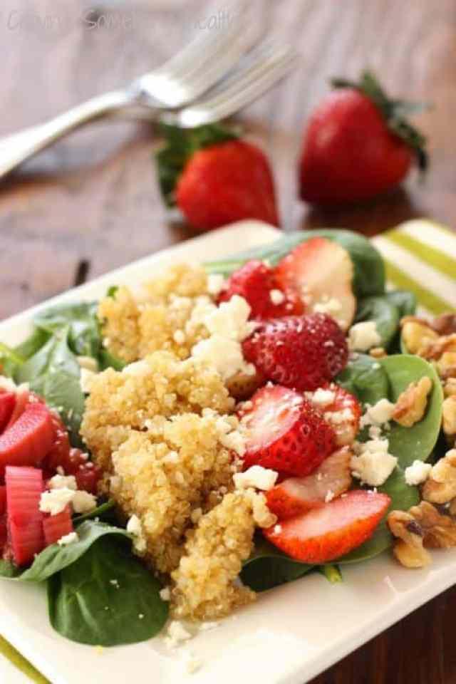 Strawberry Rhubarb Spinach Salad|Craving Something Healthy