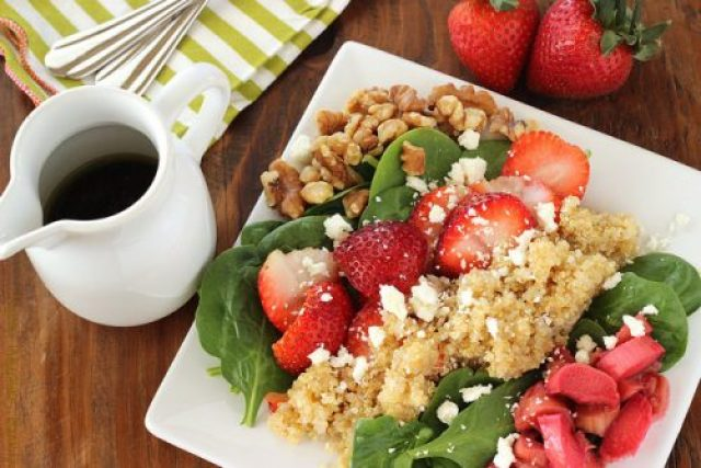 Strawberry Rhubarb Spinach Salad|Craving Something Healthy